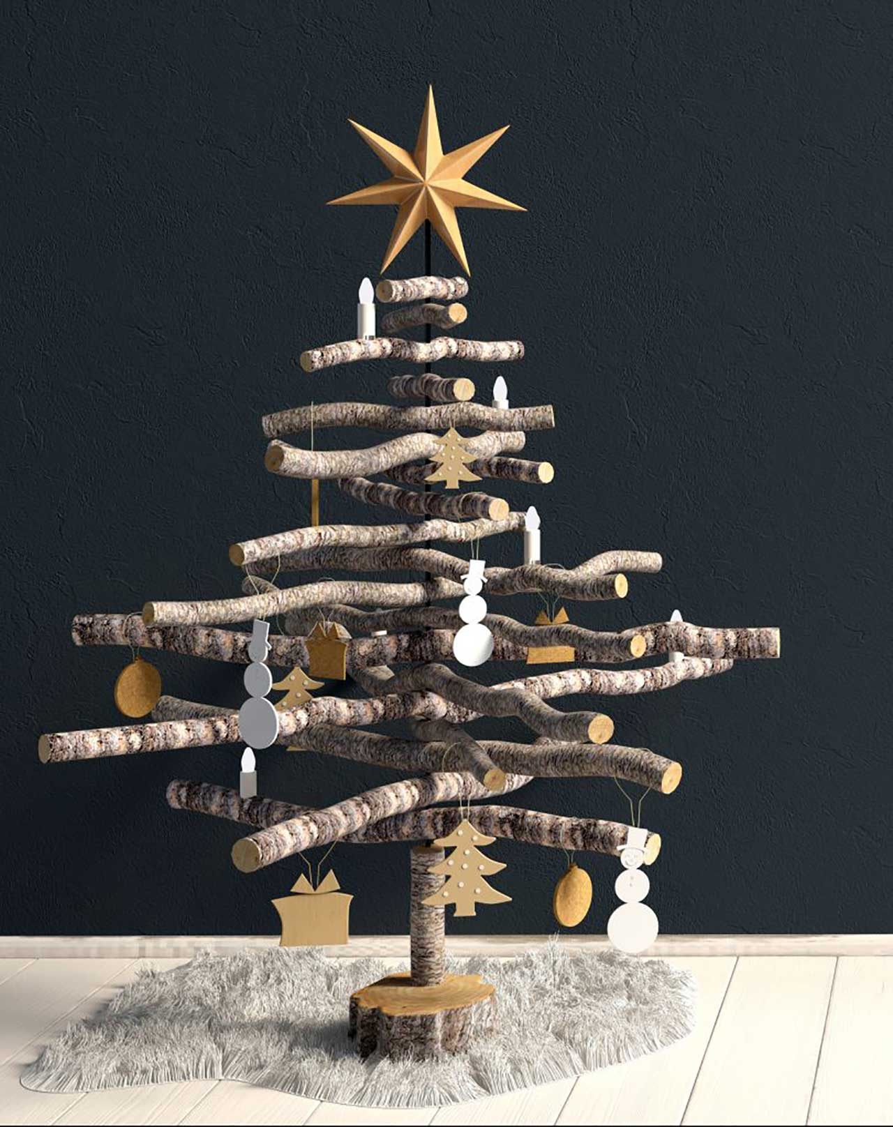 how to have an eco-friendly Christmas showing Christmas wooden tree