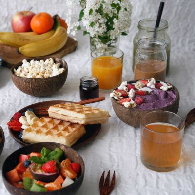 eco-friendly coconut bowl showing breakfast options